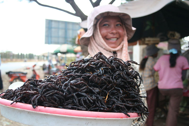Fried spiders for sale at the market in Skuon, Cambodia. Image credit: Mat Connolley, CC-BY-SA 3.0