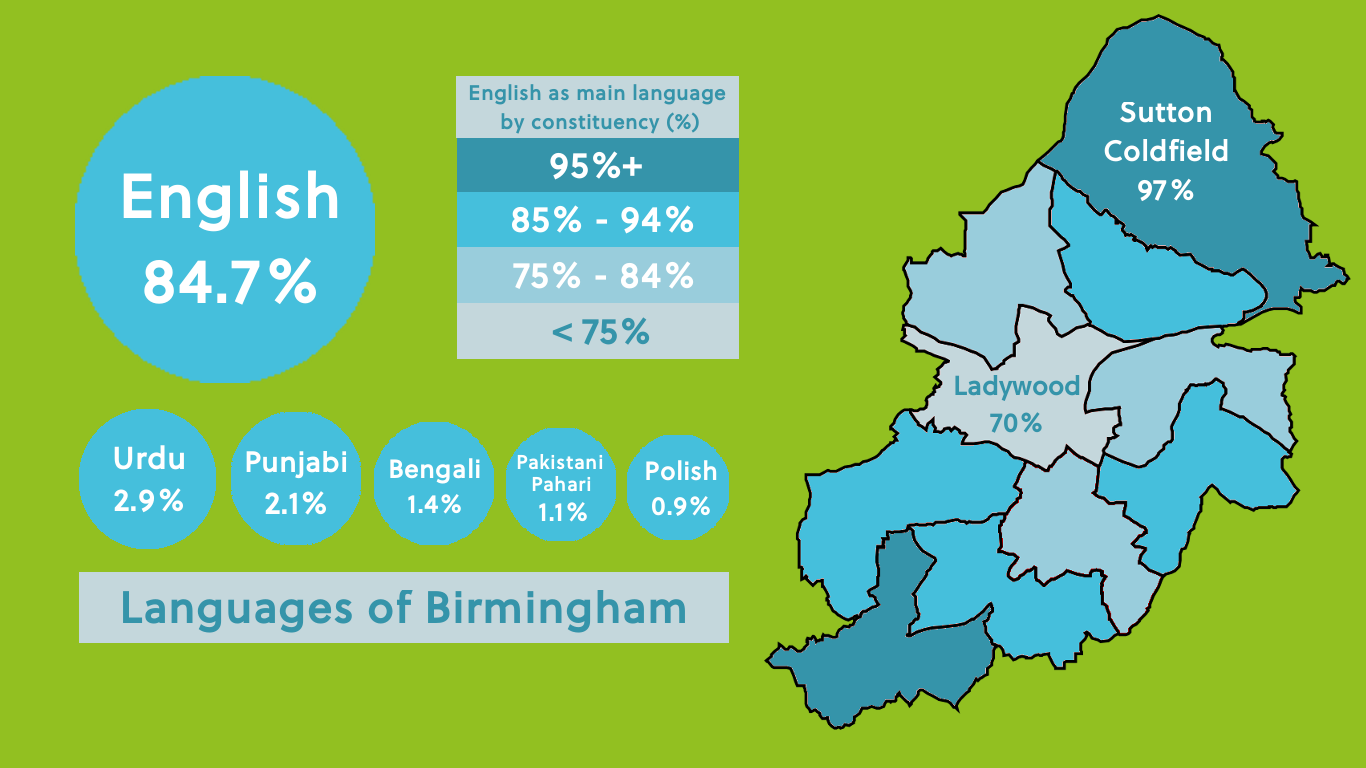 Languages spoken in Birmingham visual