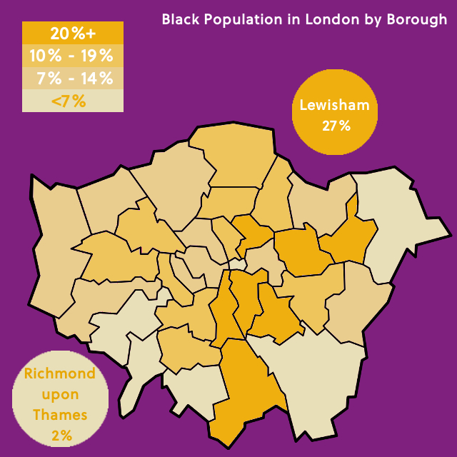 Map of London showing percentage of Black population in each Borough