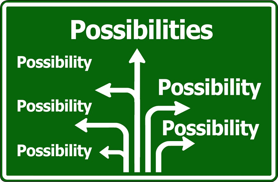 A road sign which displays a series of arrows all pointing towards the word 'possibility'.