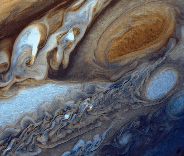 Detail of Jupiter's atmosphere, as imaged by Voyager 1