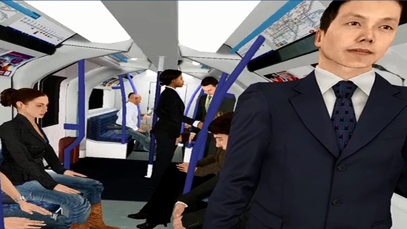 Virtual reality environment  of riding London's Victoria Line
