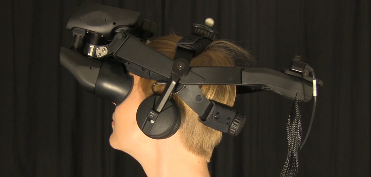 Virtual reality head set worn by participants in the study.