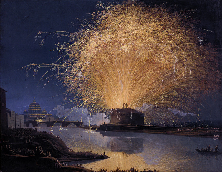 Jacob Hackert, Fireworks over Castel Sant'Angelo in Rome, 1775.