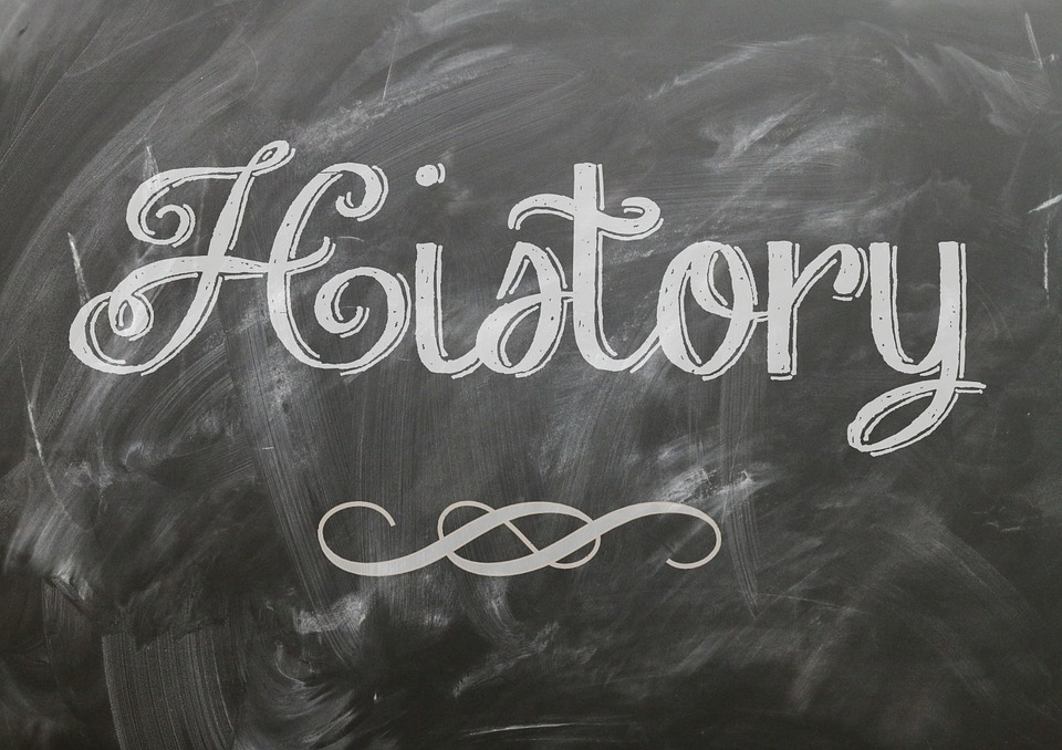 History written on chalk board.