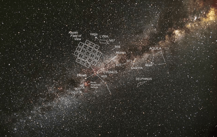 Image showing the region Kepler can see, where the mysterious star is located.  NASA
