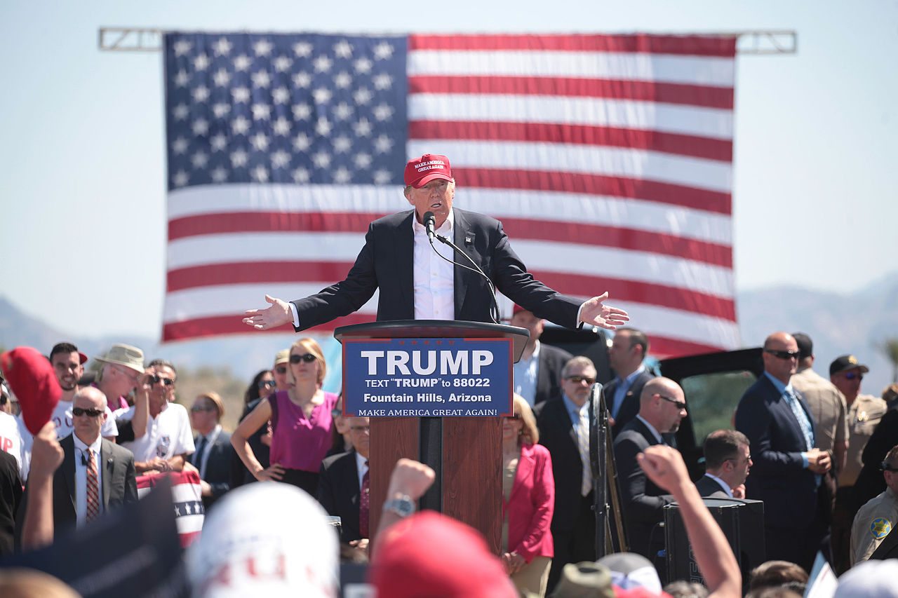 Donald Trump speaks at a campaign event in Fountain Hills, Arizona. Image credit: Gage Skidmore 6 via Wikicommons