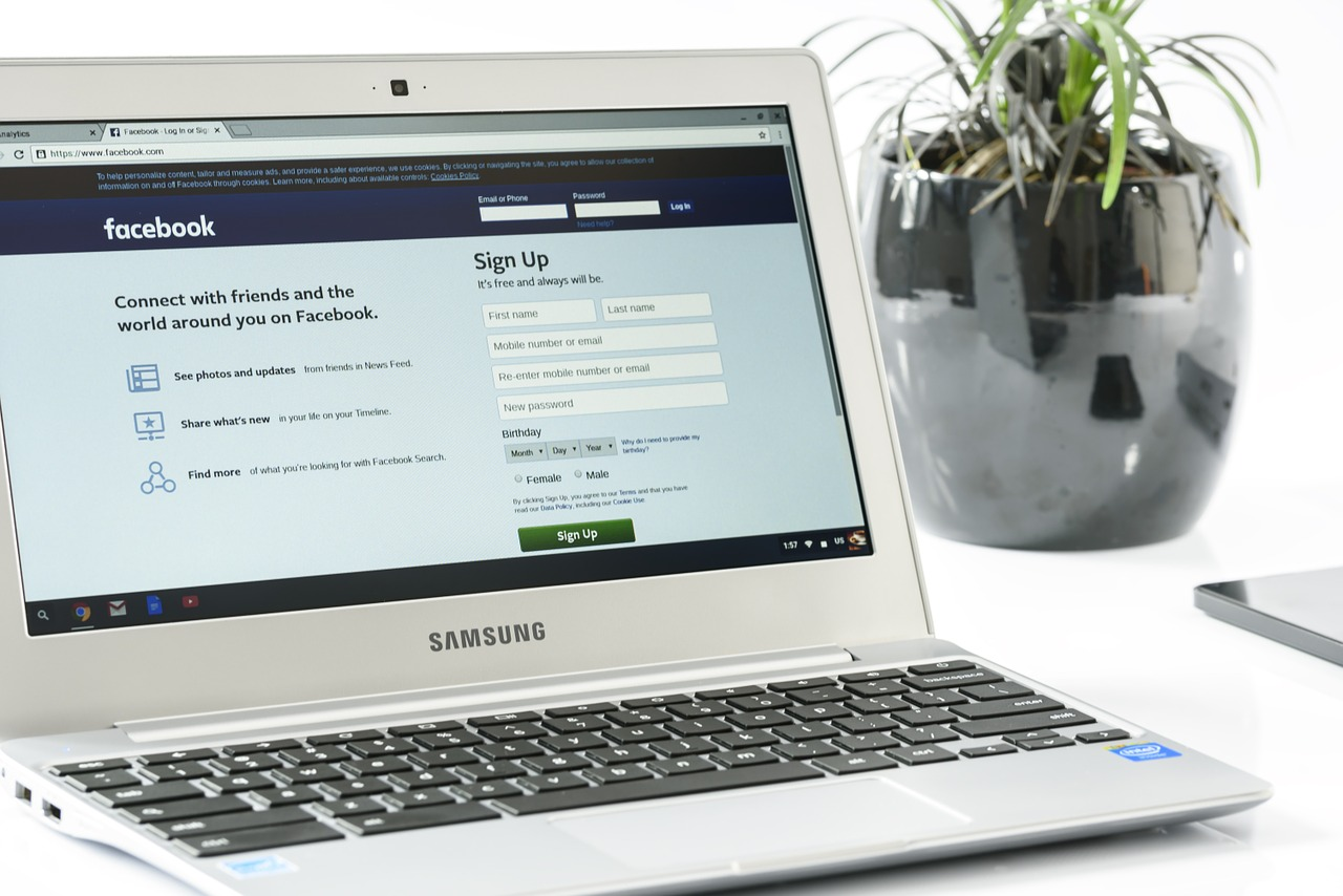 Facebook on a laptop screen