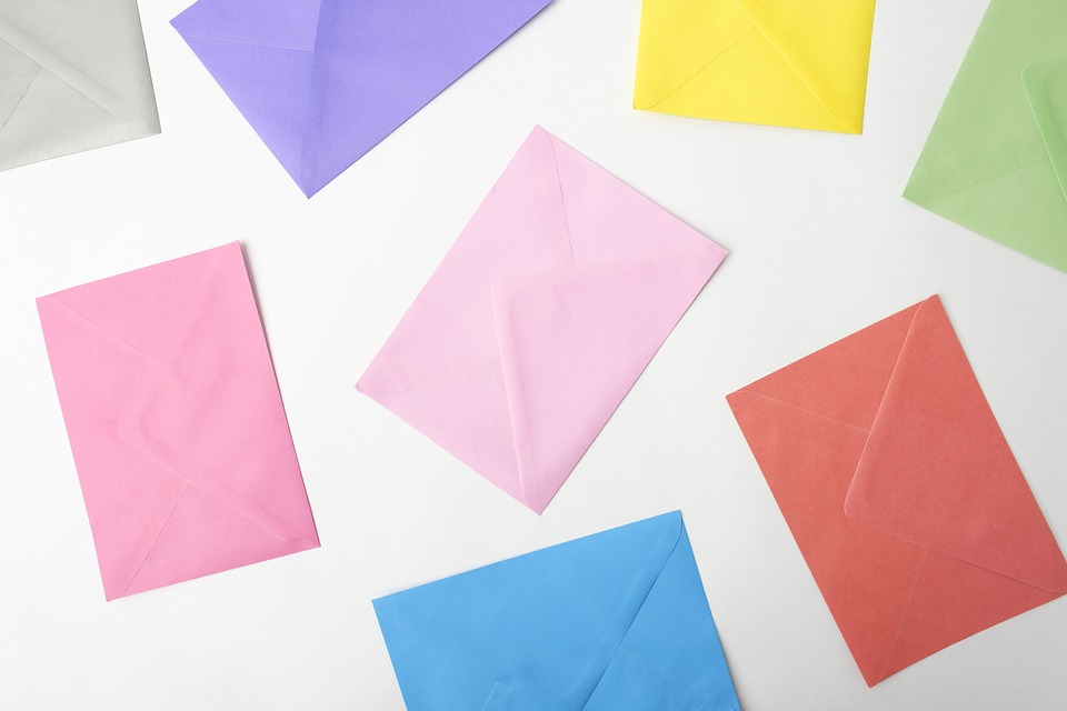 Range of colourful envelopes